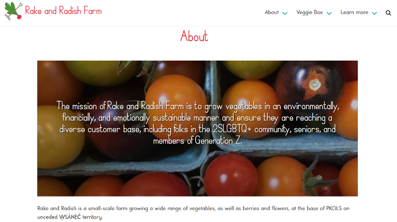 About page from the Rake and Radish Farm website.